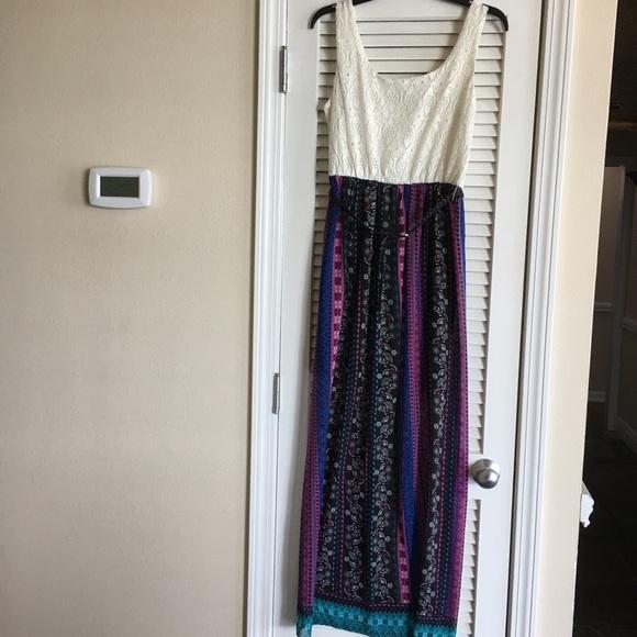 Lily Rose Dresses & Skirts - Lily Rose  Women's L Dress  & Belt Lace Top SZ M